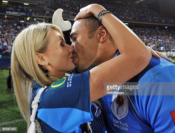 Bryan Habana gets a kiss from his wife Janine during the Absa Currie Cup match between Blue Bulls and Free State Cheetahs from Loftus Versfeld on...