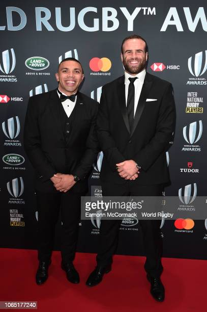 Bryan Habana of South Africa and Jamie Roberts of Wales attend the World Rugby via Getty Images Awards 2018 at the MonteCarlo Sporting Club on...