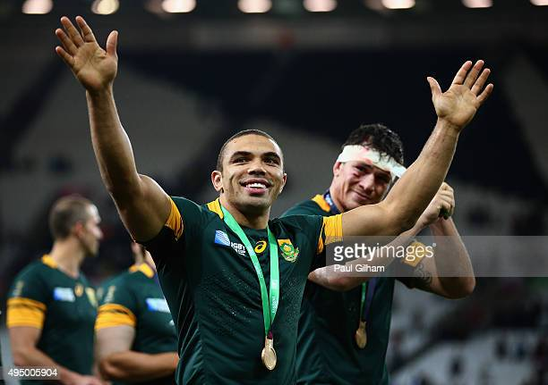 Bryan Habana of South Africa and team mates salute the crowd after victory in the 2015 Rugby World Cup Bronze Final match between South Africa and...