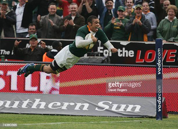 Bryan Habana of South Africa dives over to score his second try during the Rugby Union international match between South Africa and England at Loftus...
