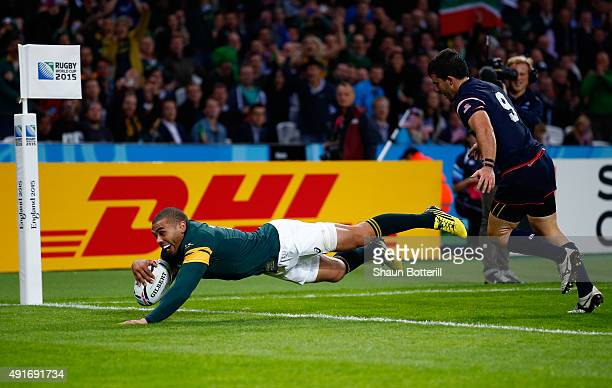 Bryan Habana of South Africa goes over to score his hat trick try during the 2015 Rugby World Cup Pool B match between South Africa and USA at the...