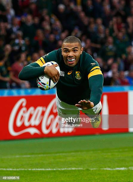 Bryan Habana of South Africa goes over to score their third try during the 2015 Rugby World Cup Pool B match between South Africa and USA at the...