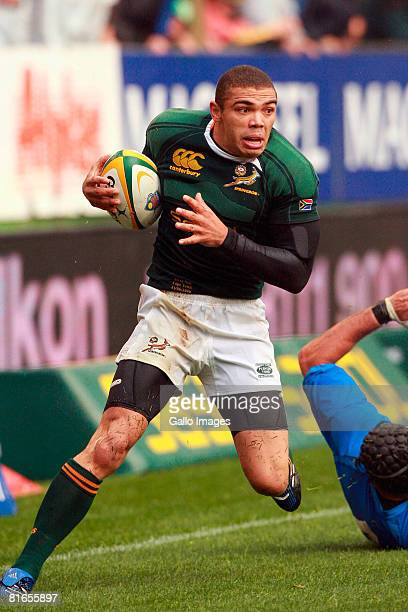 Bryan Habana of South Africa in action during the International match between South Africa and Italy held at the Newlands Stadium on June 21 2008 in...