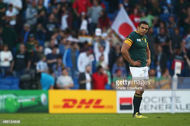 Bryan Habana of South Africa stands dejected following defeat in the 2015 Rugby World Cup Pool B match between South Africa and Japan at the Brighton...