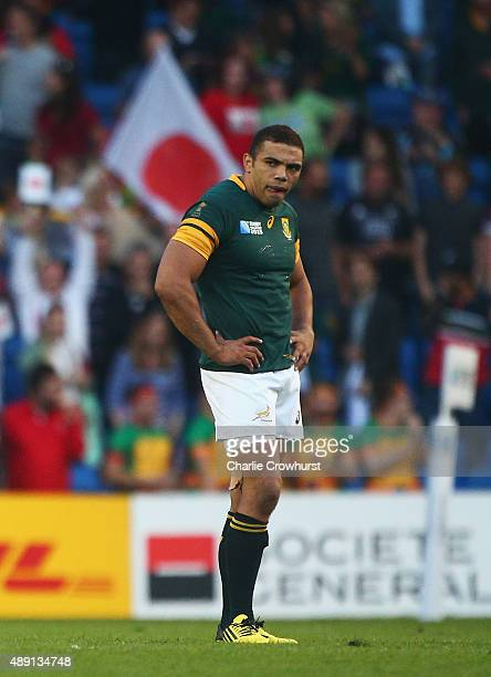 Bryan Habana of South Africa stands dejected following the 2015 Rugby World Cup Pool B match between South Africa and Japan at the Brighton Community...