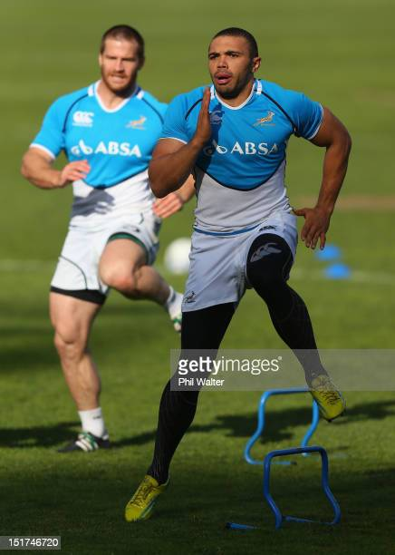 Bryan Habana of South Africa warms up during a South African Springboks training session at Western Springs Stadium on September 11 2012 in Auckland...