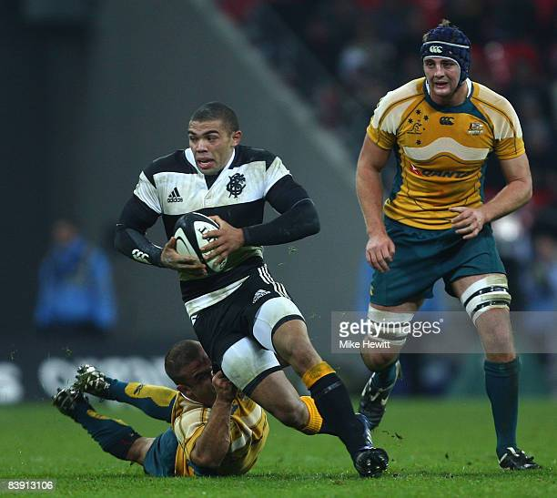 Bryan Habana of the Barbarians takes on the Australian defence during the 1908 2008 London Olympic Centenary match between The Barbarians and...