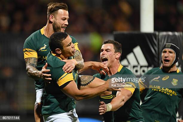 Bryan Habana of the Springboks celebrates scoring a try during the Rugby Championship match between the New Zealand All Blacks and the South Africa...
