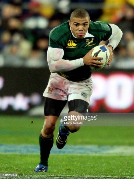 Bryan Habana of the Springboks in action during the 2008 Tri Nations series match between the New Zealand All Blacks and the South African Springboks...