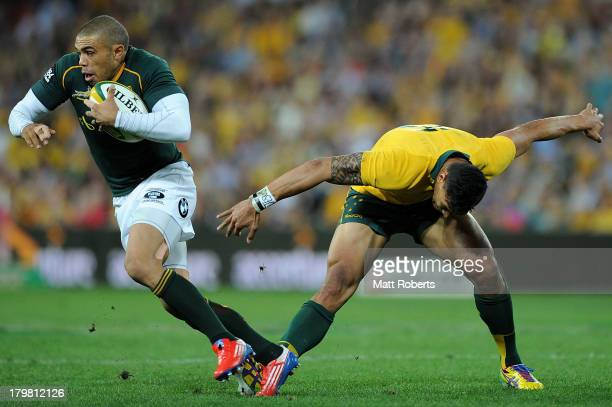 Bryan Habana of the Springboks intercepts the ball during The Rugby Championship match between the Australian Wallabies and the South African...
