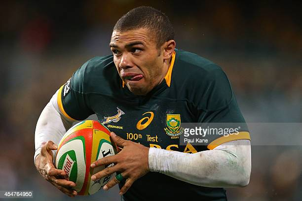 Bryan Habana of the Springboks makes a break during The Rugby Championship match between the Australian Wallabies and the South African Springboks at...
