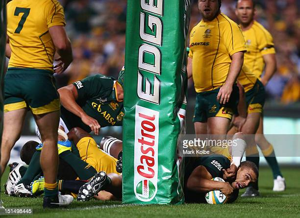 Bryan Habana of the Springboks scores a try during Rugby Championship match between the Australian Wallabies and the South African Springboks at...