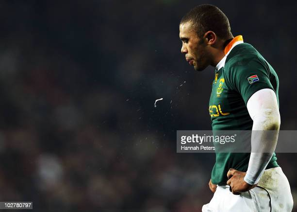 Bryan Habana of the Springboks spits during the TriNations match between the New Zealand All Blacks and South Africa Springboks at Eden Park on July...