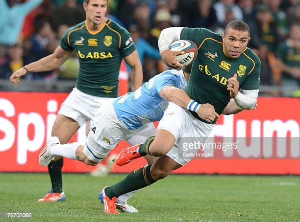 Bryan Habana of the Springboks tackled by Horacio Agulla of Argentina during the Castle Rugby Championship match between South Africa and Argentina...