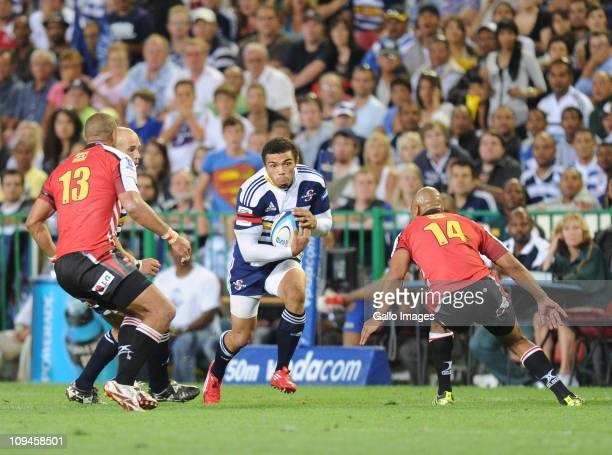 Bryan Habana of the Stormers tries to split the Lions defence during the Super Rugby match between DHL Stormers and Lions at DHL Newlands Stadium on...