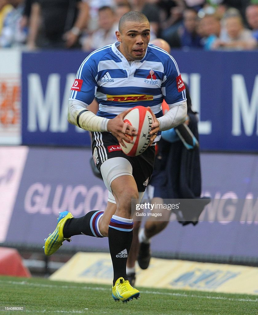 Bryan Habana of Western Province runs with the ball during the Absa Currie Cup match between DHL Western Province and Toyota Free State Cheetahs at DHL Newlands on October 13, 2012 in Cape Town, South Africa.