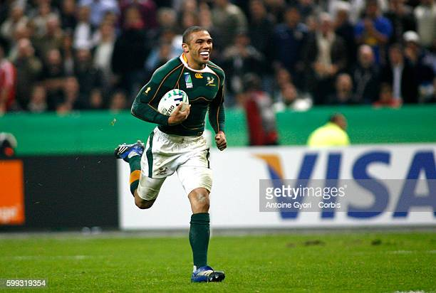 Bryan Habana scores a try during the IRB World Cup rugby semi final between South Africa and Argentina.   Location: Saint Denis, France.