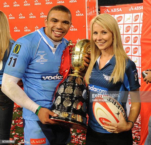 Bryan Habana with his wife Janine celebrate victory after the Absa Currie Cup Final match between Blue Bulls and Free State Cheetahs from Loftus...