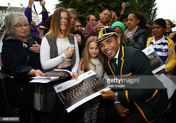 Bryan Habana with some young fans during the 2015 Rugby Wolrd Cup Springboks Welcome function at Eastbourne Winter Gardens on September 13 2015 in...