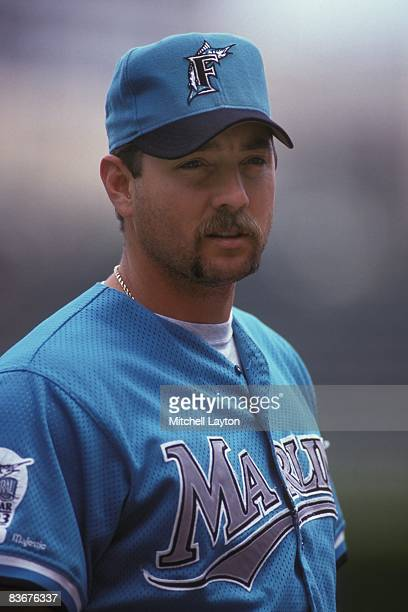 Bryan Harvey of the Florida Marlins before a baseball game against the Chicago Cubs on June 1 1993 at Wrigley Field in Chicago Illinois