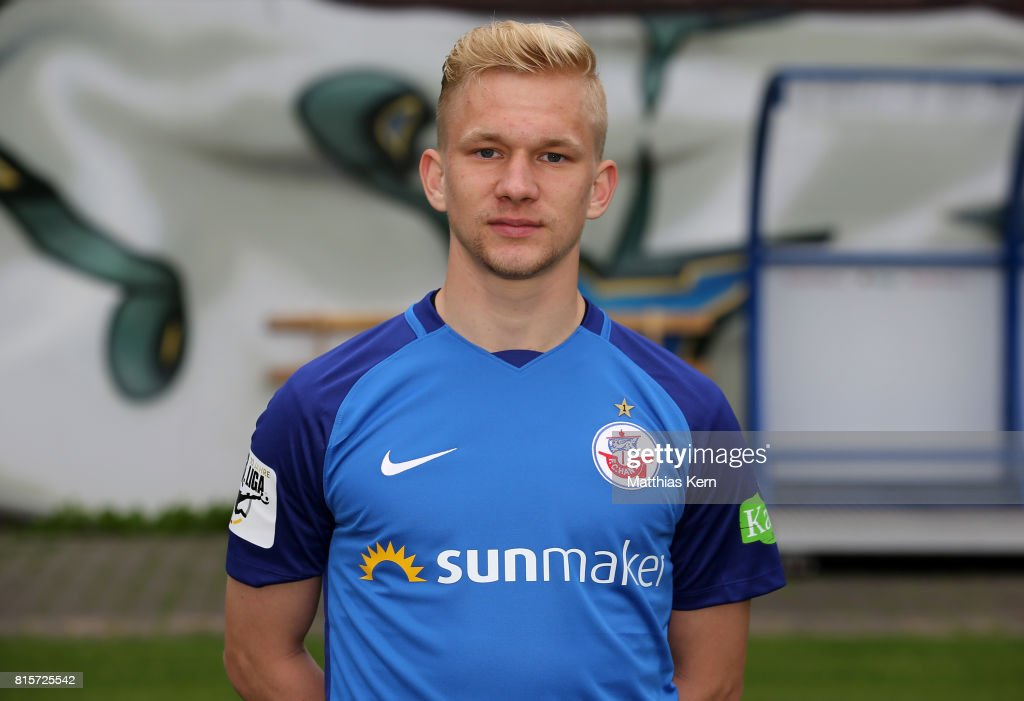 Bryan Henning of FC Hansa Rostock poses during the team presentation at Ostseestadion on July 16, 2017 in Rostock, Germany.