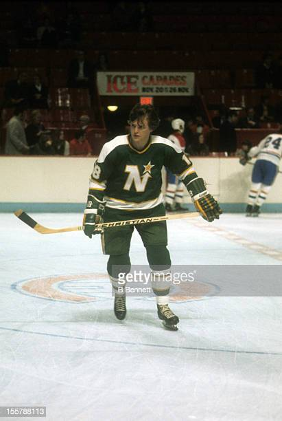 Bryan Hextall of the Minnesota North Stars skates on the ice during warmups before an NHL game against the Montreal Canadiens circa 1976 at the...