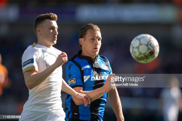 Bryan Heynen of Genk and Ruud Vormer of Club Bruggen fight for the ball during the Jupiler Pro League playoff 1 match between Club Brugge and Krc...