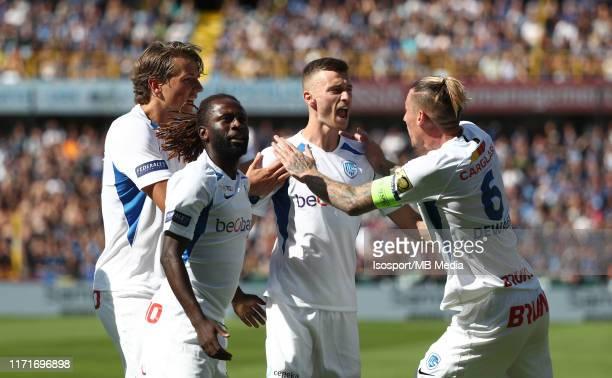 Bryan Heynen of Krc Genk celebrates after scoring a goal during the Jupiler Pro League match between Club Brugge KV and KRC Genk at Jan Breydel...