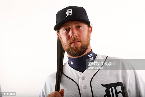 Bryan Holaday of the Detroit Tigers poses for a photo during the Tigers' photo day on February 28 2015 at Joker Marchant Stadium in Lakeland Florida