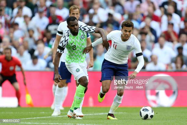 Bryan Idowu of Nigeria and Dele Alli of England during the International Friendly between England and Nigeria at Wembley Stadium on June 2 2018 in...