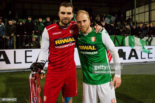 Bryan Janssen of FC Dordrecht Daniel Breedijk of FC Dordrecht during the Dutch Jupiler League match between FC Dordrecht v RKC Waalwijk at the Riwal...