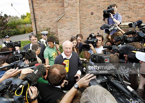 Bryan Kennedy uncle of Kate McCann is interviewed by awaiting media outside the McCann's family home in Rothley Leicestershire before the family...