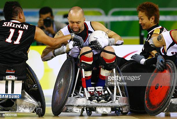 Bryan Kirkland of the United States competes in the Wheelchair Rugby match between the United States and Japan at Beijing Science and Technology...