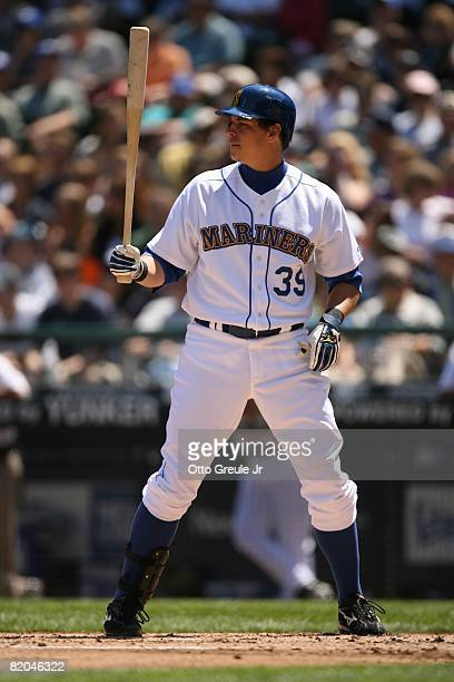 Bryan LaHair of the Seattle Mariners bats against the Cleveland Indians on July 19, 2008 at Safeco Field in Seattle, Washington.