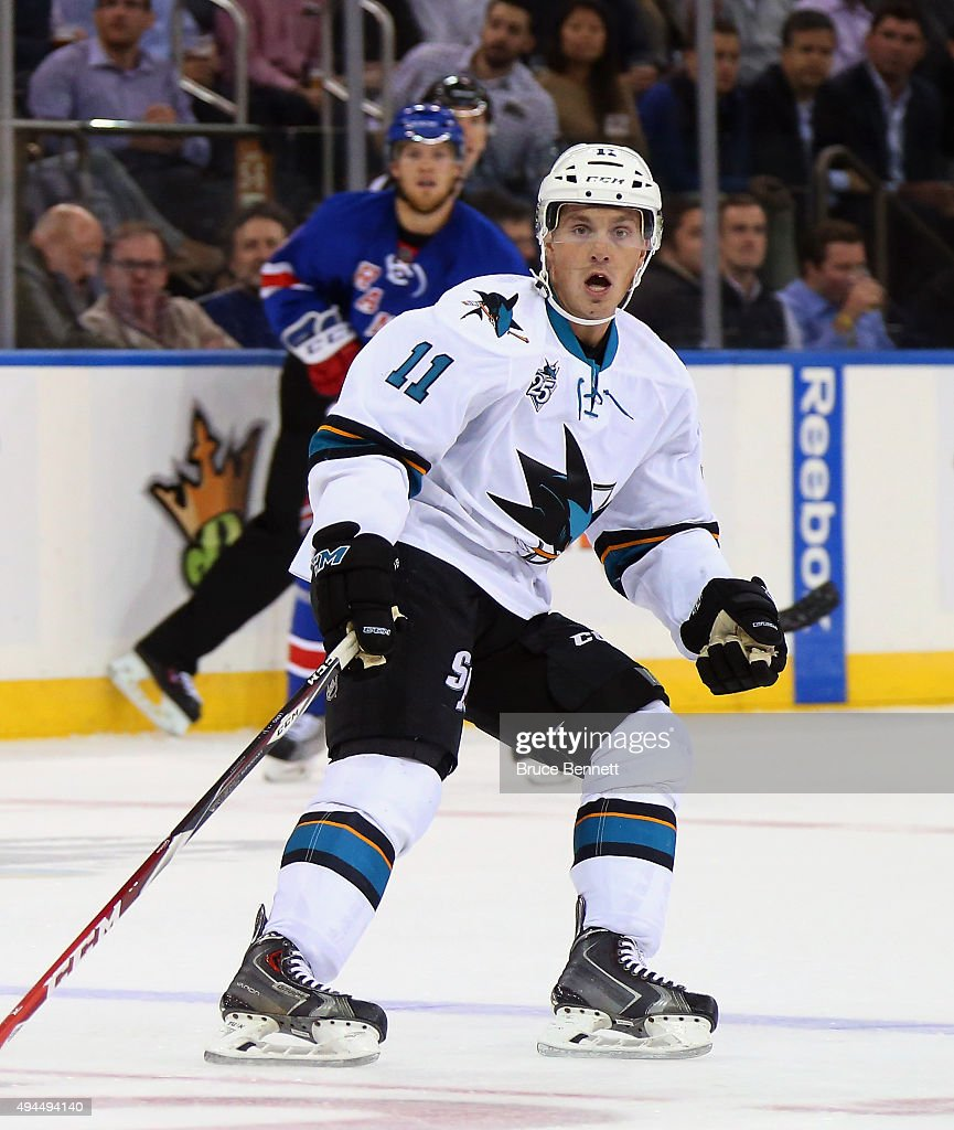 Bryan Lerg #11 of the San Jose Sharks skates against the New York Rangers at Madison Square Garden on October 19, 2015 in New York City.