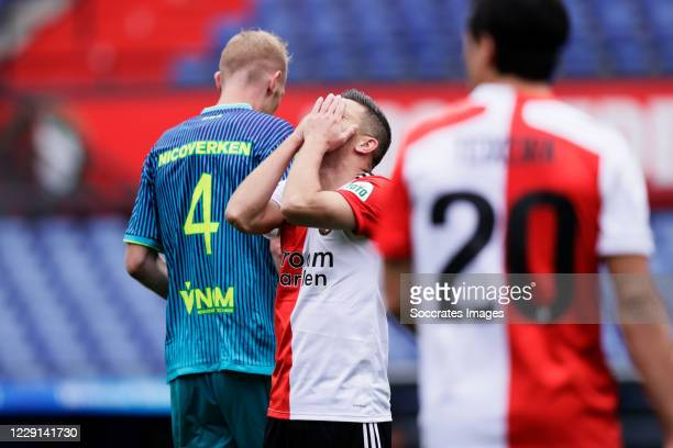 Bryan Linssen of Feyenoord disappointed during the Dutch Eredivisie match between Feyenoord v Sparta at the Stadium Feijenoord on October 18 2020 in...