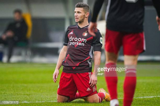 SITTARD Bryan Linssen of Feyenoord is on the ground after a foul during the Dutch Eredivisie match between Fortuna Sittard and Feyenoord at the...