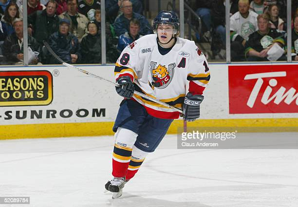 Bryan Little of the Barrie Colts eyes the play during the Ontario Hockey League game against the London Knights at John Labatt Centre on November 5,...