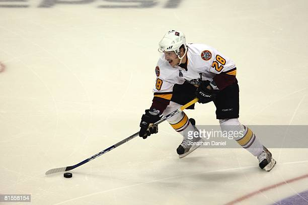 Bryan Little of the Chicago Wolves handles the puck against the Wilkes-Barre/Scranton Penguins during the Calder Cup Finals on June 10, 2008 at the...