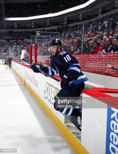 Bryan Little of the Winnipeg Jets hits the ice prior to puck drop against the Colorado Avalanche at the MTS Centre on March 4 2017 in Winnipeg...
