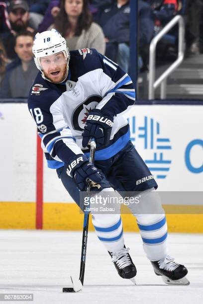Bryan Little of the Winnipeg Jets skates against the Columbus Blue Jackets on October 27 2017 at Nationwide Arena in Columbus Ohio