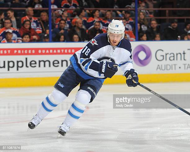Bryan Little of the Winnipeg Jets skates during a game against the Edmonton Oilers on February 13 2016 at Rexall Place in Edmonton Alberta Canada