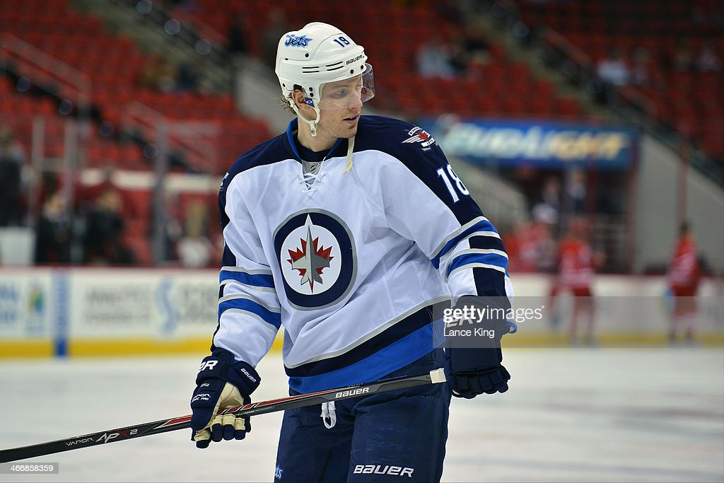 Bryan Little #18 of the Winnipeg Jets warms up prior to a game against the Carolina Hurricanes at PNC Arena on February 4, 2013 in Raleigh, North Carolina.