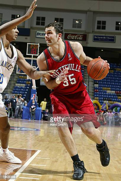 Bryan Lucas of the Fayetteville Patriots moves to the basket against the Roanoke Dazzle during Game One of the NBDL Semifinals at the Crown Coliseum...
