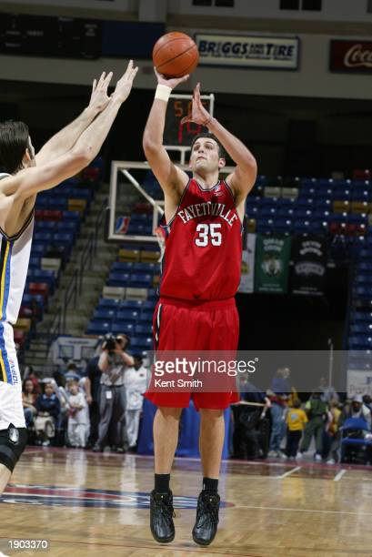 Bryan Lucas of the Fayetteville Patriots takes a jump shot against the Roanoke Dazzle during Game One of the NBDL Semifinals at the Crown Coliseum on...