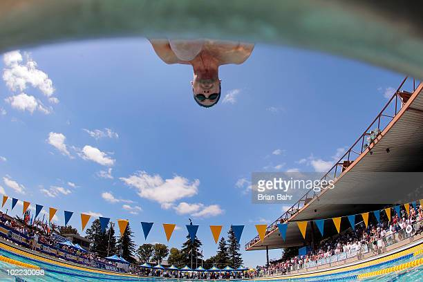 Bryan Lundquist reacts to the starter as he launches off the blocks in the 17th heat of the mens 50 meter freestyle at the XLIII Santa Clara...