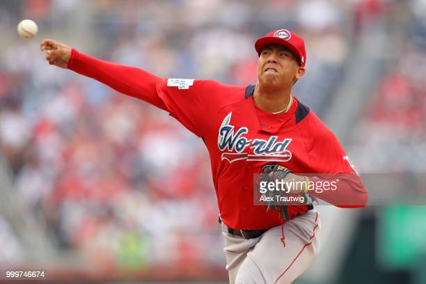 Bryan Mata of the World Team pitches during the SiriusXM AllStar Futures Game at Nationals Park on Sunday July 15 2018 in Washington DC