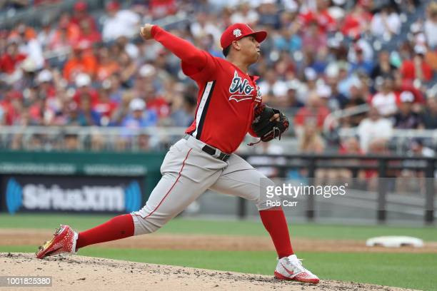 Bryan Mata pitches during the SiriusXM AllStar Futures Game at Nationals Park on July 15 2018 in Washington DC