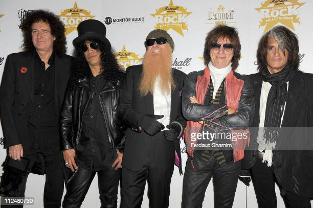 Bryan May,Slash, Billy Gibbons, Jeff Beck and Joe Perry attend the Classic Rock Roll of Honour at Park Lane Hotel on November 2, 2009 in London,...