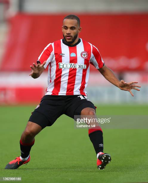 Bryan Mbeumo of Brentford during the Sky Bet Championship Play Off Semifinal 2nd Leg match between Brentford and Swansea City at Griffin Park on July...